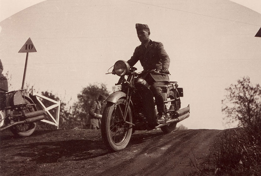 Franco on a motorcycle at the Military Academy.