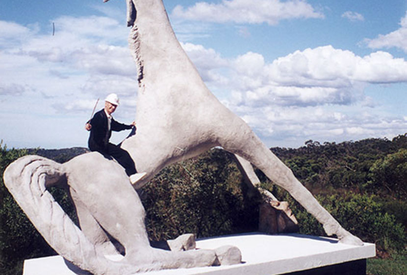 Franco riding his sculpture, Equus Magnus, at Terrey Hills, Sydney.