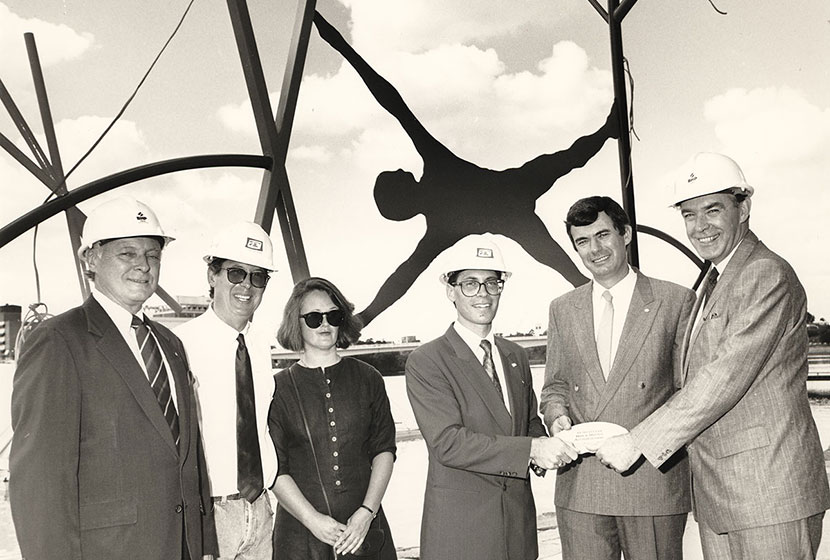 Handing over of steel sculpture Man and Matter on site at Expo '88 in Brisbane.