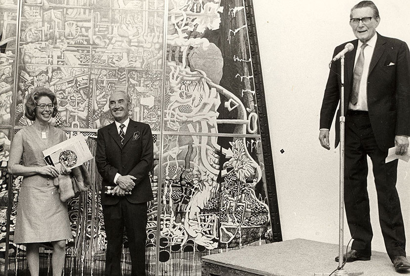 1970. Transfield Art Prize. Sir Ronald Penrose, who judged that year, addresses the guests.