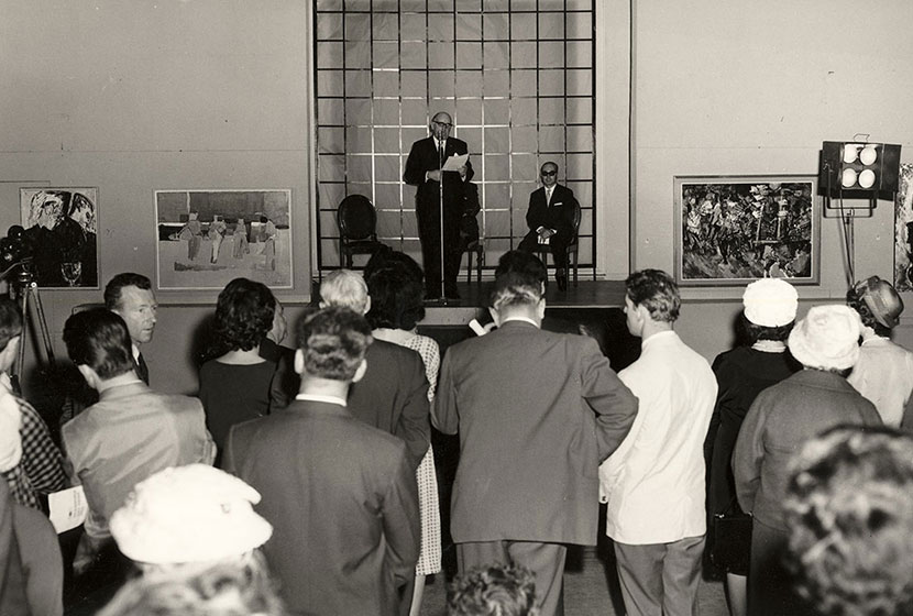 1962. Transfield Art Prize. View of the ceremony, held at David Jones' Art Gallery, Sydney.
