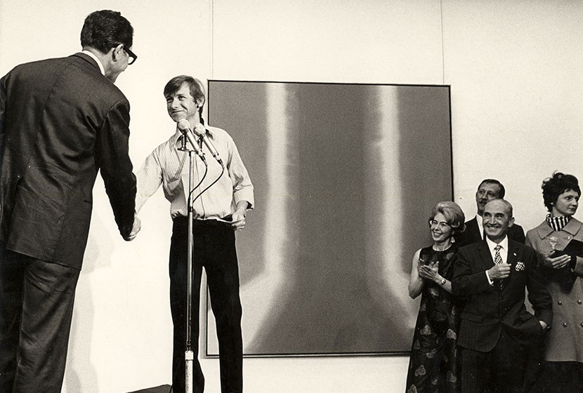 1969. Transfield Art Prize. Ron Robertson-Swann being congratulated by Carlo Salteri.