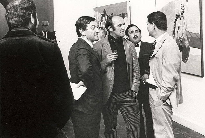 1968. Transfield Art Prize. Painter John Olsen (centre, holding glass).
