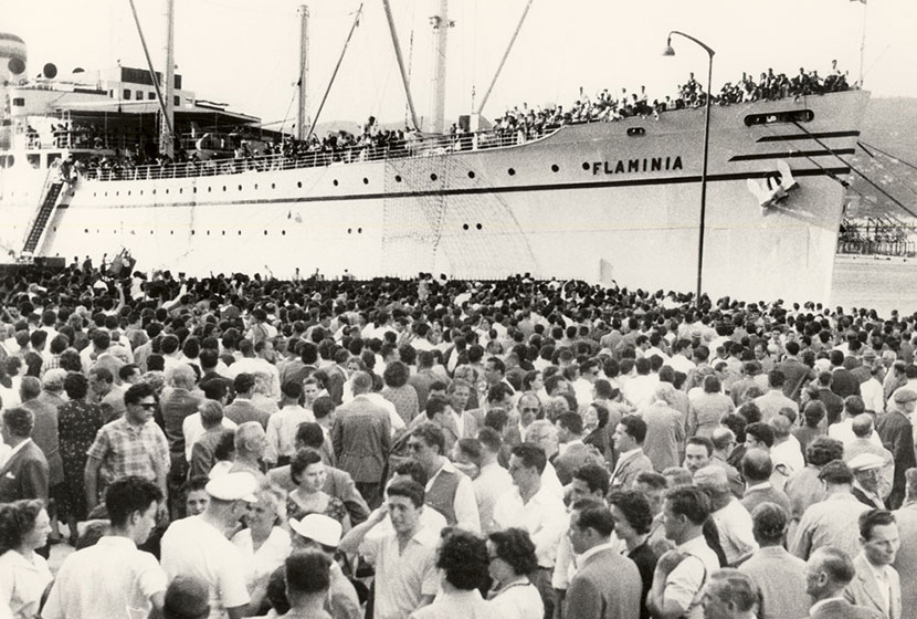 1955. The migrant ship MV Flaminia leaving Trieste for Australia.