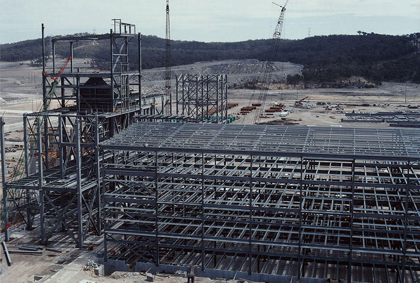 Mt Piper power station, NSW. Building frame.