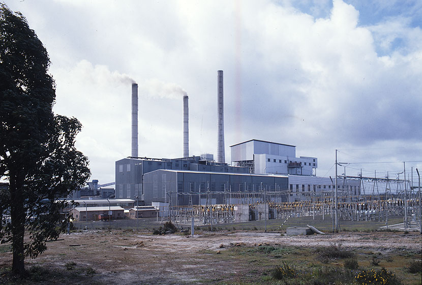 Construction of Muja power station in Western Australia.