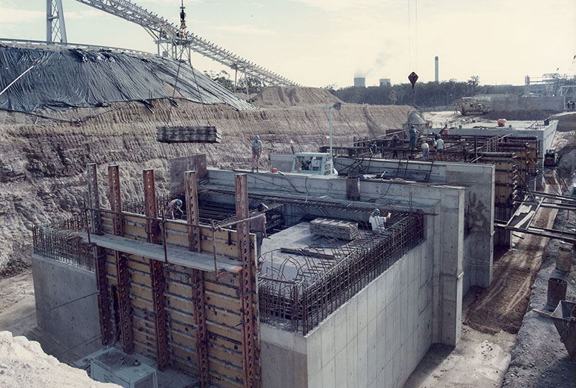 1985. Tarong power station, Queensland. Reclaim bunker structure.