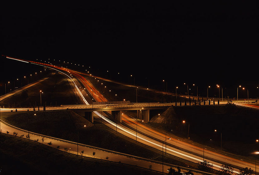 Night view of a bridge built by Transfield in Malaysia.