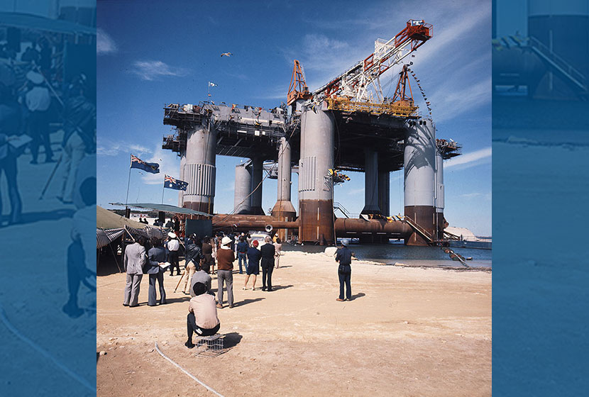 1975. Christening of the oil rig Ocean Endeavour. Visitors photograph the rig.