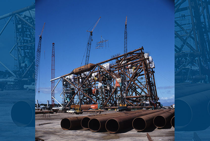 1987. Barry Beach, Victoria. The jacket for the oil rig Bream is readied for towing to its Bass Strait position.