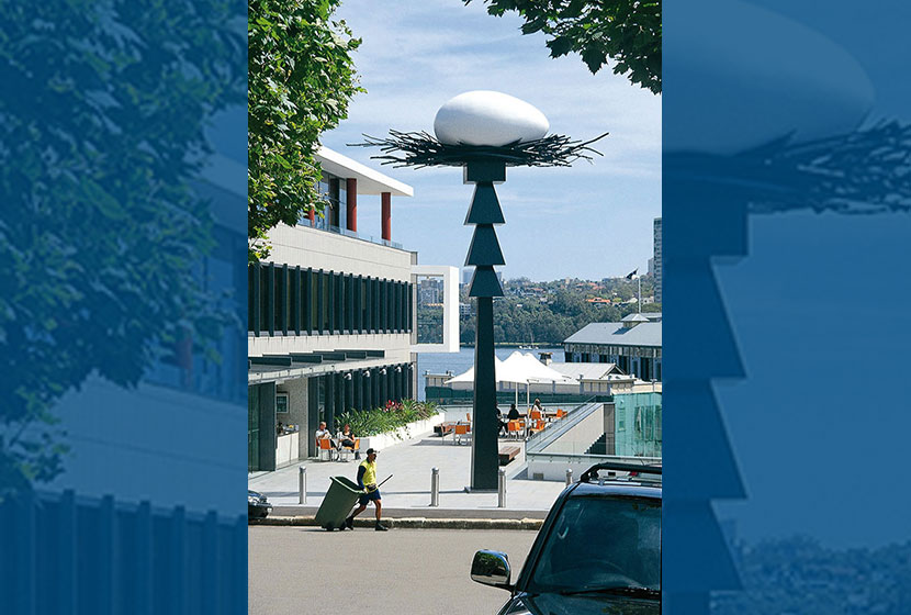 2004. Brett Whiteley's Black Totem II, in front of Transfield House at Walsh Bay, Sydney.