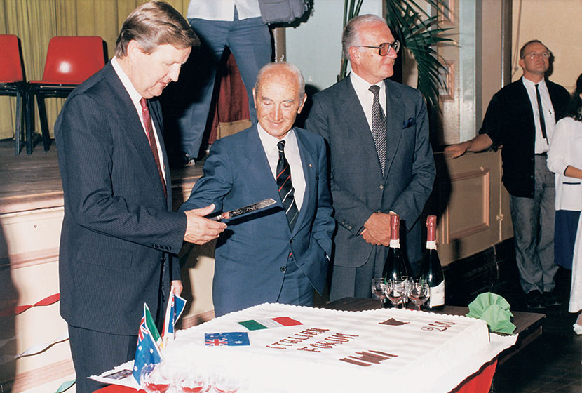 1987. Premier Barrie Unsworth, Franco and the Italian Ambassador at the Italian Forum in Sydney.