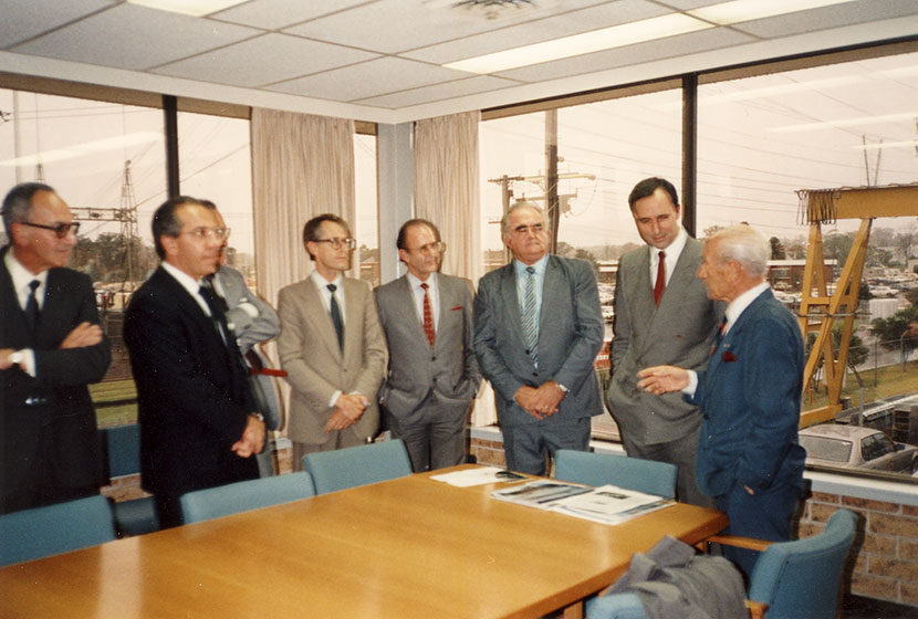 Prime Minister Paul Keating visits Transfield's Seven Hills factory. Franco explains the operation.