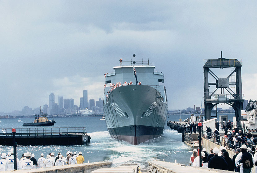 1994. The launching of HMAS Anzac, the first of the ANZAC Class frigates. Williamstown, Victoria.
