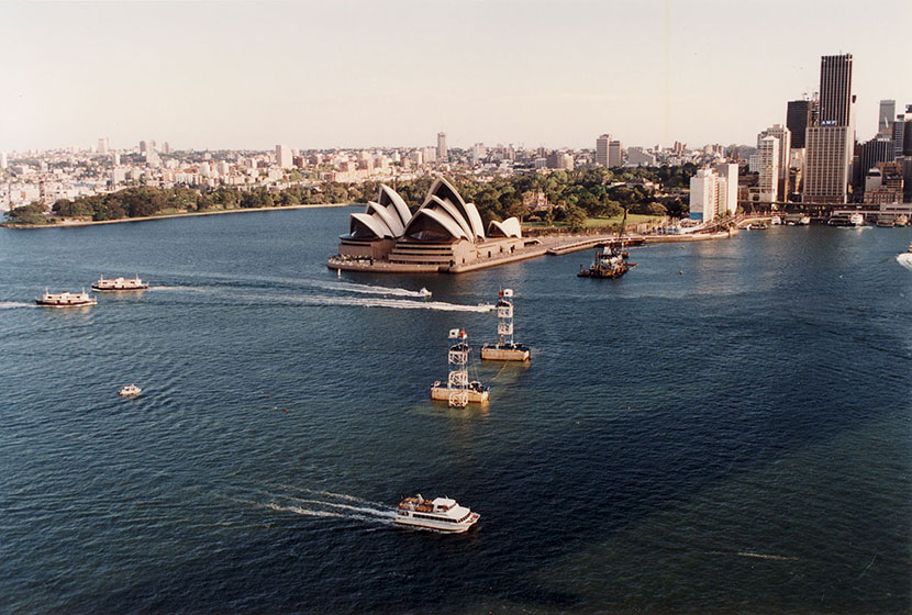 Construction of the Sydney Harbour Tunnel in front of the Opera House.