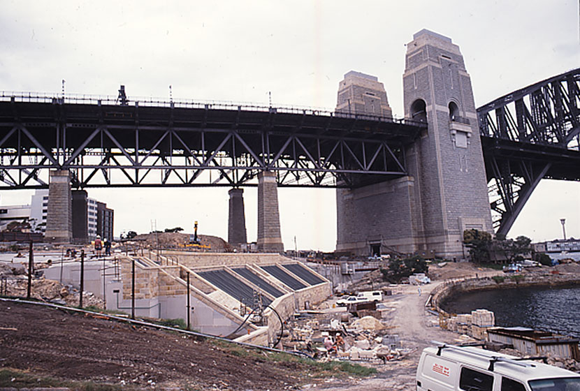 Construction works for the exhaust system for the Sydney Harbour Tunnel.
