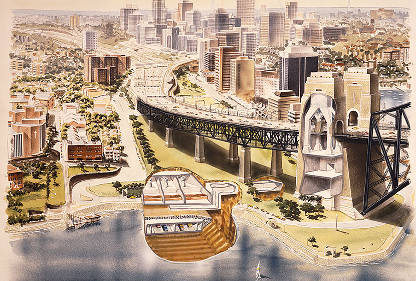 Diagram of the construction works for the exhaust system for the Sydney Harbour Tunnel.