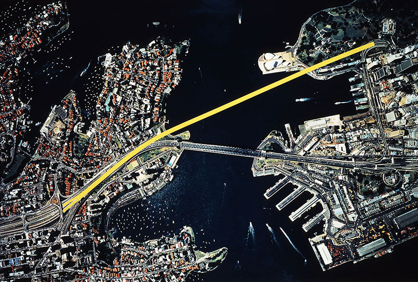 Sydney Harbour Tunnel. Map of the route chosen for the tunnel.