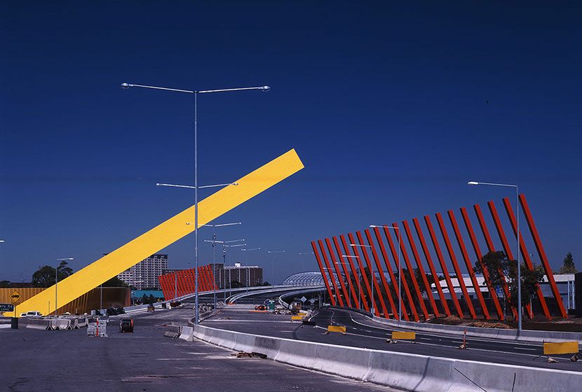Melbourne City Link. The International Gateway greets visitors to Melbourne coming from Tullamarine Airport.