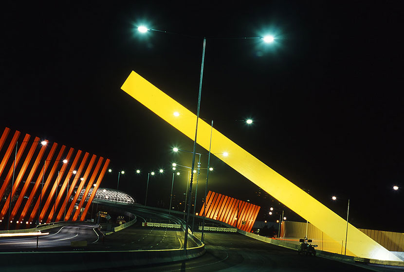Melbourne City Link.The International Gateway by night.