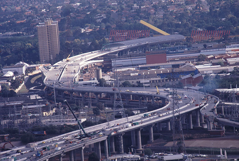Melbourne City Link. Panoramic view of the elevated road section.