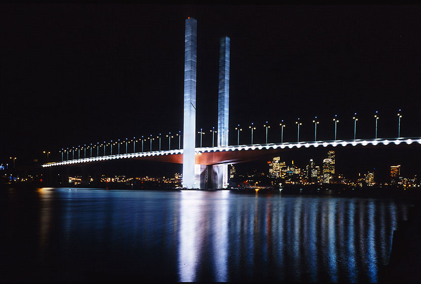 Melbourne City Link. The Bolte Bridge by night. The bridge has two central towers, each 140 metres high.