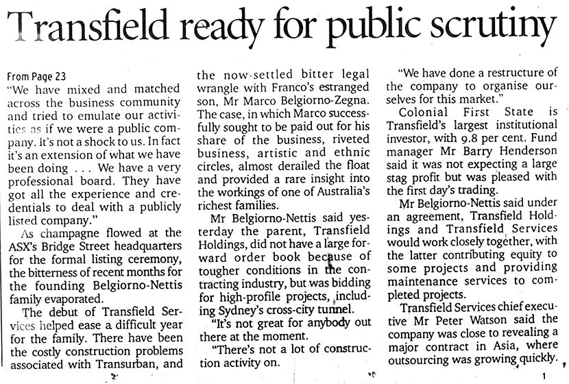 "Article in the Sydney Morning Herald, 4 May 2001. ""Transfield ready for public…"""